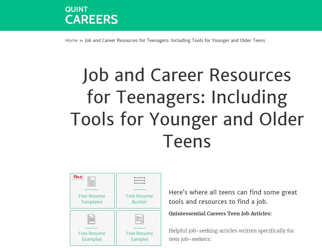 quint careers teen resource guide picture